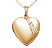 14k Yellow Gold Heart Photo Locket with Personalized Tabs