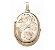 14K Gold Filled Floral Oval 4 Photo Locket