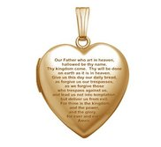 Solid 14K Yellow Gold  Lord s Prayer  Locket