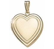 Solid 14k Yellow Gold Classic Heart Photo Locket