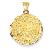 Solid 14k Yellow Gold Floral Round Photo Locket