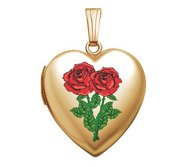 Solid 14K Yellow Gold Double Rose Heart Photo Locket