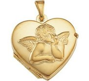 Solid 14k Yellow Gold Angel Heart Photo Locket