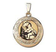 Solid 14k Yellow Gold Round  Blessed Mother   Picture Locket