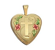 14k Gold Filled Small Cross Heart Photo Locket