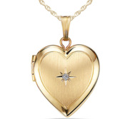 Yellow Gold Heart Photo Locket with Genuine Diamond