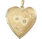 Solid 14K Yellow Gold Heart Photo Locket with Diamonds