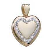 Solid 14K Yellow Gold Premium Weight Diamond Photo Locket