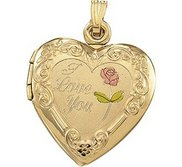 Solid 14K Yellow Gold I Love You Heart Photo Locket