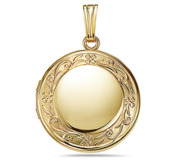 Solid 14k Yellow Gold Round Photo Locket