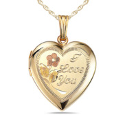 14k Gold Filled I Love You Heart Photo Locket