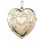Solid 14K Yellow Gold Heart Four Photo Locket