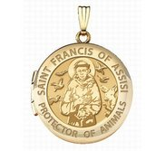 Solid 14k Yellow Gold St Francis of Assisi Round Photo Locket
