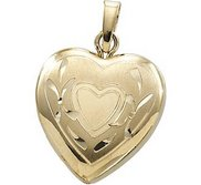Solid 14K Small Yellow Gold Heart Locket