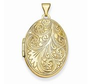 Solid 14k Yellow Gold Floral Oval Photo Locket
