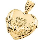 Solid 14k Yellow Gold Claddagh Heart Photo Locket