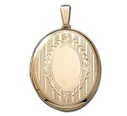 Solid 14k Yellow Gold Large Oval Photo Locket