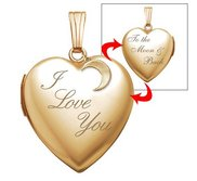 14k Yellow Gold   I Love You To the Moon and Back   Heart Photo Locket