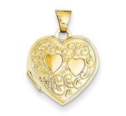 14k Solid Yellow Gold Double Heart Photo Locket