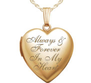14k Yellow Gold Always   Forever In My Heart Photo Locket