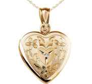 14K Gold Filled Floral Heart Photo Locket with Diamond
