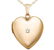 Solid 14k Yellow Gold Diamond Heart Photo Locket