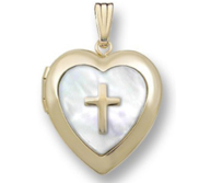 Solid 14K Yellow Gold Mother of Pearl Cross Heart Photo Locket