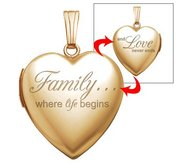 14k Yellow Gold Family Love Heart Locket