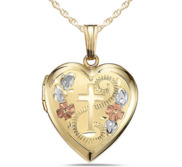 Solid 14K Yellow Gold Floral Cross Heart Photo Locket