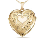 Yellow Gold Floral Heart 4 Photo Locket