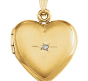 Solid 14K Yellow Gold Heart Photo Locket with Diamond