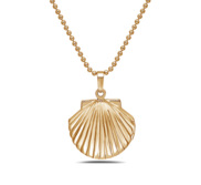 14k Gold Tone Seashell Photo Locket with 18  Chain