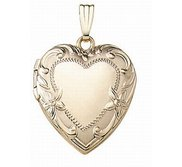Solid 14K Yellow Gold Heart Photo Locket