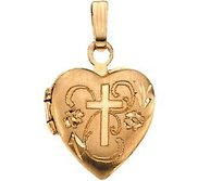Solid 14K Gold HEART SHAPED LOCKET W CROSS