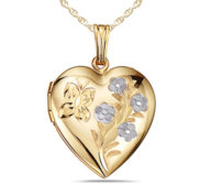 Solid 14K Yellow Gold Floral Heart Photo Locket