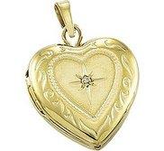Solid 14K Yellow Gold Heart Photo Locket with Diamond