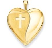 14K Polished Satin with Cross Heart Locket