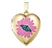 14K Gold Filled Flower Butterfly Heart Photo Locket