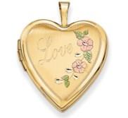 14K Yellow Gold   Love   Enameled Flowers Heart Locket