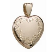 Solid 14k Premium Weight Yellow Gold Heart Picture Locket