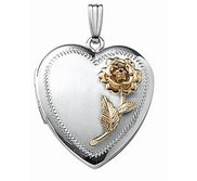 14k White Gold Two Tone Rose Heart Photo Locket