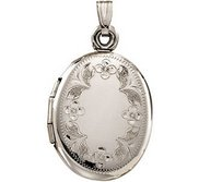 14k White Gold Floral Oval Photo Locket