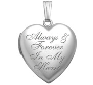 14K White Gold Always   Forever in My Heart Photo Locket