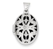 14k White Gold Oval Photo Locket with Diamond