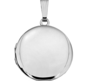 14k White Gold Round Photo Locket