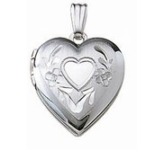 14k White Gold Small Heart Photo Locket