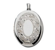 14k White Gold Floral Border Oval Photo Locket