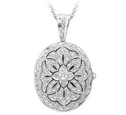 14K White Gold Premium Oval Photo Locket with Diamonds
