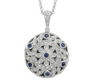 14K White Gold Premium Round Photo Locket with Diamonds   Sapphires