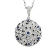 14K White Gold Premium Round Photo Locket with Diamonds   Sapphires